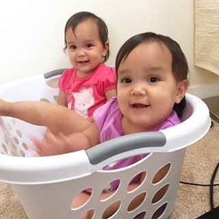 Instagram photo by itsjudytime - The girls were playing around me while I folded laundry. I step out the room for a sec and come back only to find them both in the laundry basket these cutie bears I swear!! #miyabear #keirabear #twins #itsjudyslife