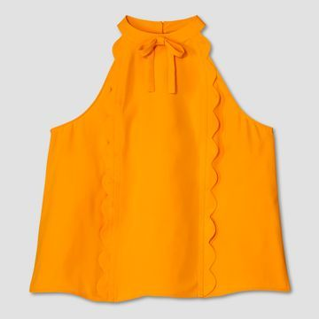 Women's Plus Marigold High Neck Scallop Trim Tank Top - Victoria Beckham for Target  https://workinglook.com/2017/03/19/catching-spring-fever-with-victoria-beckhams-target-collection/
