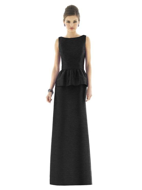 Dessy Full Length Peplum Bridesmaids Dress