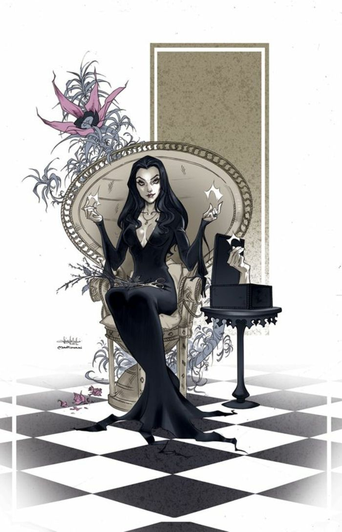 1-dessin-gothique-belle-femme-morticia-addams-maquillage-spécial