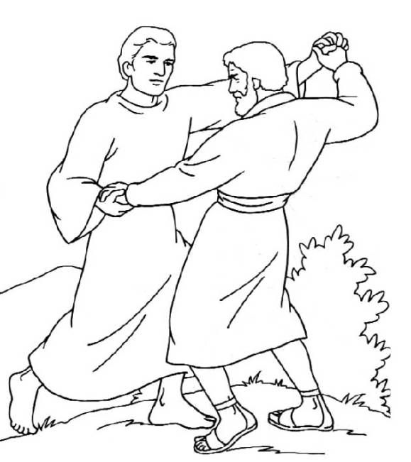 Coloring Page Jacob Wrestling With The Angel
