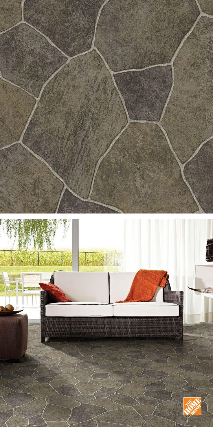 This looks like paver stones, but it's really high quality vinyl flooring. Today's vinyl flooring is highly durable, easy to clean and very affordable. It's a great choice for your kitchen, bathroom or sunroom. It's one of The Home Depot's top-pinned products.