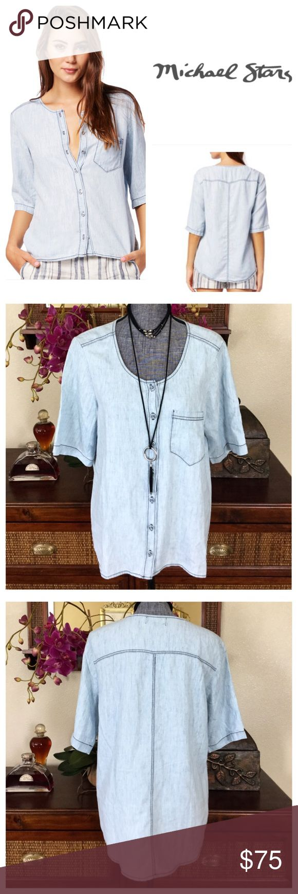 "Michael Stars Bleach Wash Linen Denim Shirt.  NWT. Michael Stars Bleach Wash Linen Denim Tencel Button Down, 70% tencel, 30% linen, machine washable, 20"" armpit to armpit (40"" all around), 18.5"" arm inseam, 26"" shortest point length, 29"" longest point length, button down front, short sleeve, chest pocket, collarless, scoop neckline, unlined, high low hem, measurements are approx.  NO TRADES Michael Stars Tops Button Down Shirts"