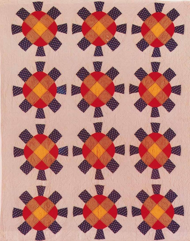 Pieced Circular Block, 1890. Made by Margaret Ellen Harris Gour. Barbour Co, for Ulysses S. Grant