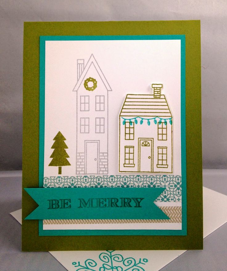 handmade holiday card, be merry, christmas green and blue, washi tape, holiday, DIY, demonstrator, paper crafting, easy, stamping, greeting card, craft, paper, *Stampin' Up, by Amy Frillici, Gathering Inkspiration Stamp Studio, order products online at amysuzanne.stampinup.net