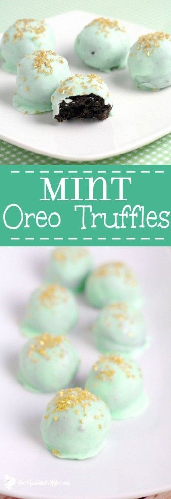 Mint Oreo Truffle Recipe. See 15 Must-try mint dessert recipes on www.prettymyparty.com.
