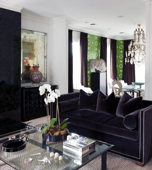 Black velvet couch.