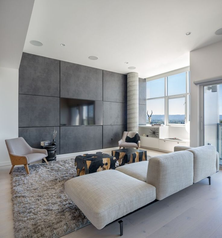 Interior Design By Vanillawood. Contemporary | Modern | Living Room |  Leather Wall | Bachelor