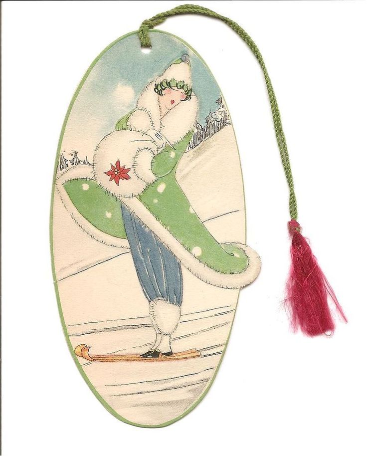 Vintage Art Deco Winter Scene Bridge Tally Card Lady Skiing Christmas