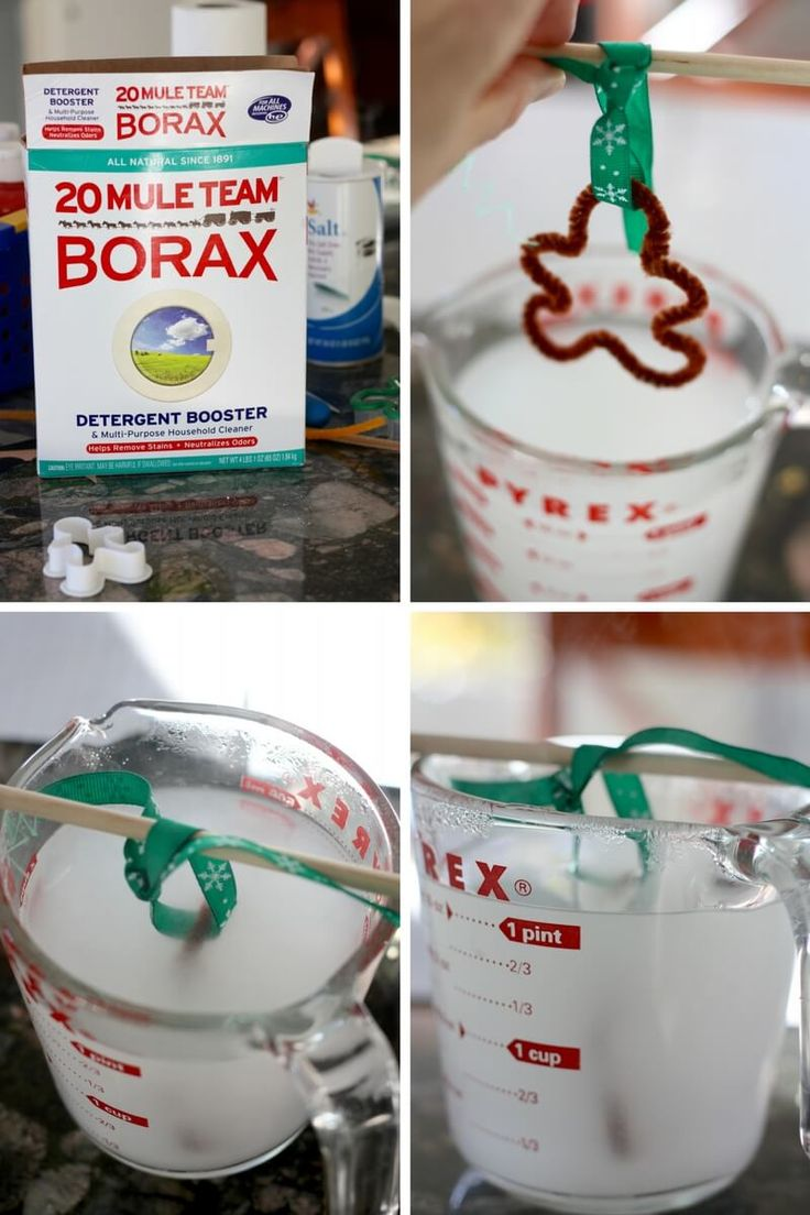 Making a crystal gingerbread man with a borax solution and pipe cleaners for a great Christmas science ornament