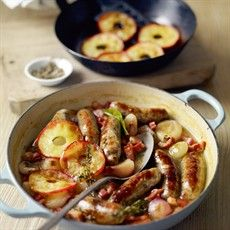 Bangers and mash in apple cider gravy... one of my all-time favorite English dishes! Ultimate comfort food!