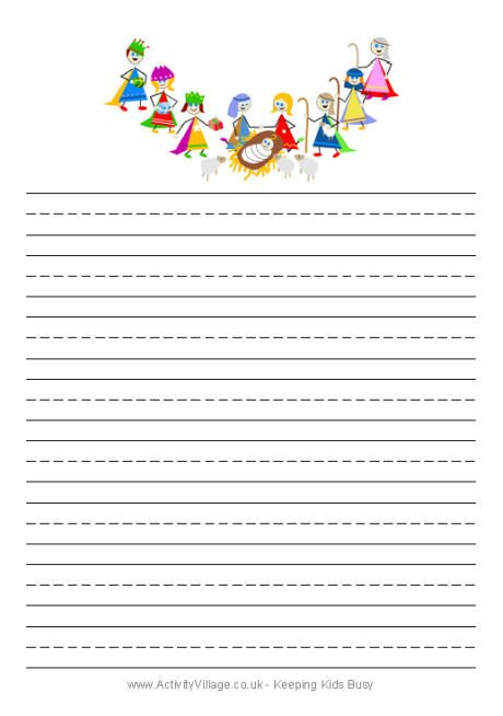 Christmas Angel Writing Paper Handwriting Template