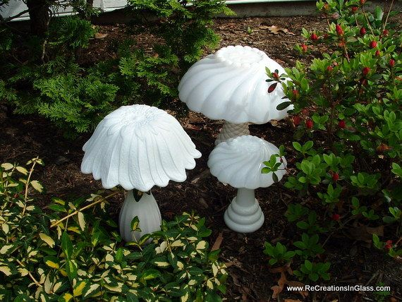 "Garden art. Glass totems. Mushrooms.  Milkglass.  ""Trio of white mushrooms"" made from upcycled repurposed glass."