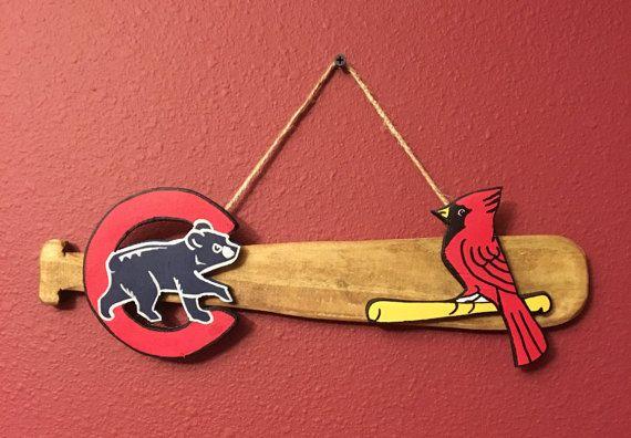 Cubs Cardinals Rivalry/Baseball Rivalries/House Divided/NLCentral/Wooden Bat/Wall Decor/Wall Hanging/Sports/Athletics/Man's Birthday Gift
