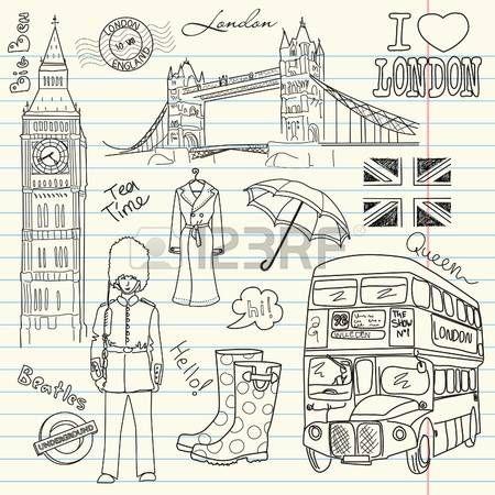 Londen doodles in het schetsboek Stock Illustratie