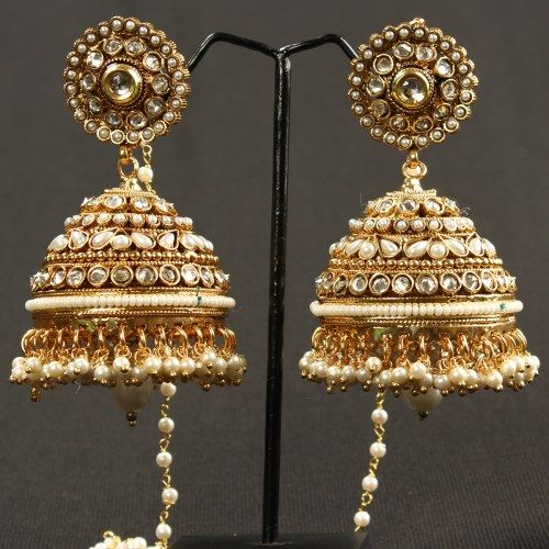 White Pearl Jhumki with Polki And kundan 74 - Online Shopping for Earrings by Prakruthi