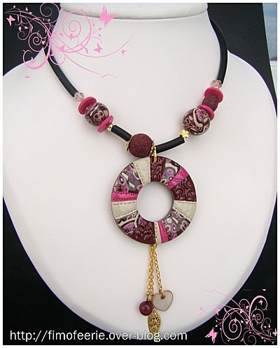 polymer clay..sort of like this design but different colors...