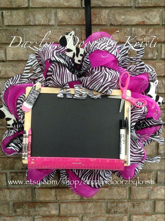 Hot Pink and Zebra Wreath by DazzlinDoorzbyKristi on Etsy, $70.00