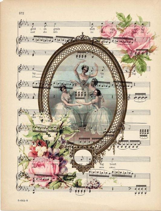 Gypsy jingles boutique, victorian ballerinas, vintage ladies, victorian ladies, vintage ephemera, vintage music sheet