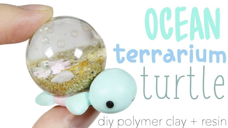 How to DIY Ocean Terrarium Dome Turtle Polymer Clay Resin Tutorial - YouTube