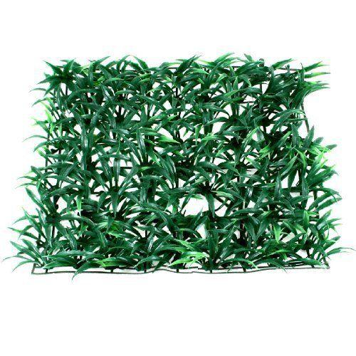 """Aquarium Green Plastic Grass Lawn Mat Turf Ornament 9.8"""" x 9.8"""""""