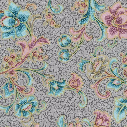 SRKM-17054-200 Villa Vintage Stripes Floral Multi With glimpses of fine Romana Villas this fabric range takes us back to a time when beautiful tiled and mosaic buildings were seen in the upper echelons of society. From Robert Kaufman Studios the glazed tile effects mixed with vintage floral bring history to life. We have selected beautiful mosaics with multiple colours, greys, creams and mauves to provide a great selection for you next quilting project. In the traditional Robert Kaufman…