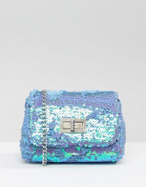 Skinnydip | Skinnydip Lilac Iridescent Sequin Cross Body Bag