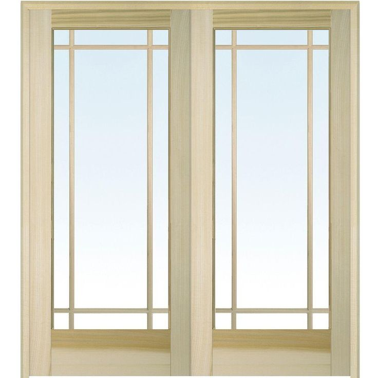 Milliken Millwork 61.5 In. X 81.75 In. Classic Clear Glass 9 Lite  Unfinished Poplar Wood Interior French Double Door. Prehung ...