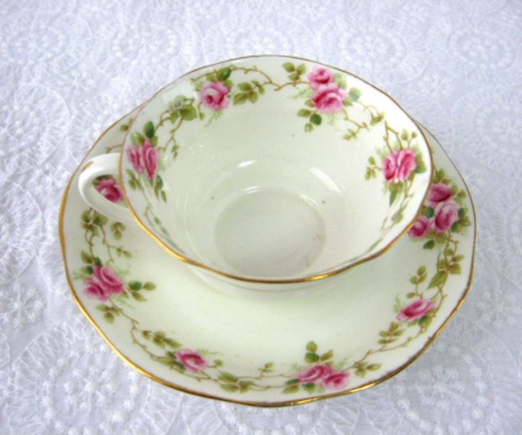 Cup And Saucer AynsleyEngland Rosebuds 1890-1894 Late Victorian Teacup – Antiques And Teacups!