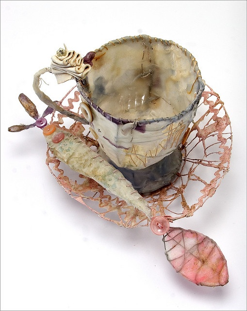 Fiber art mixed media sculpture