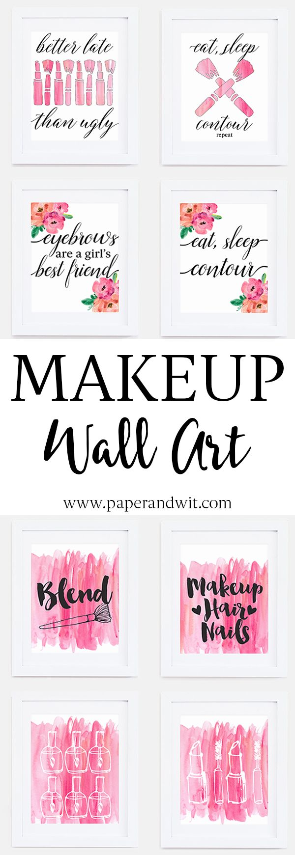 Makeup wall art - the perfect finishing touch to your beauty room.