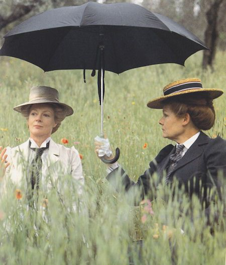 Maggie Smith as chaperone, Charlotte Bartlett, and Judi Dench as novelist, Eleanor Lavish in A Room With A View (1985). They are wonderful together in this film!