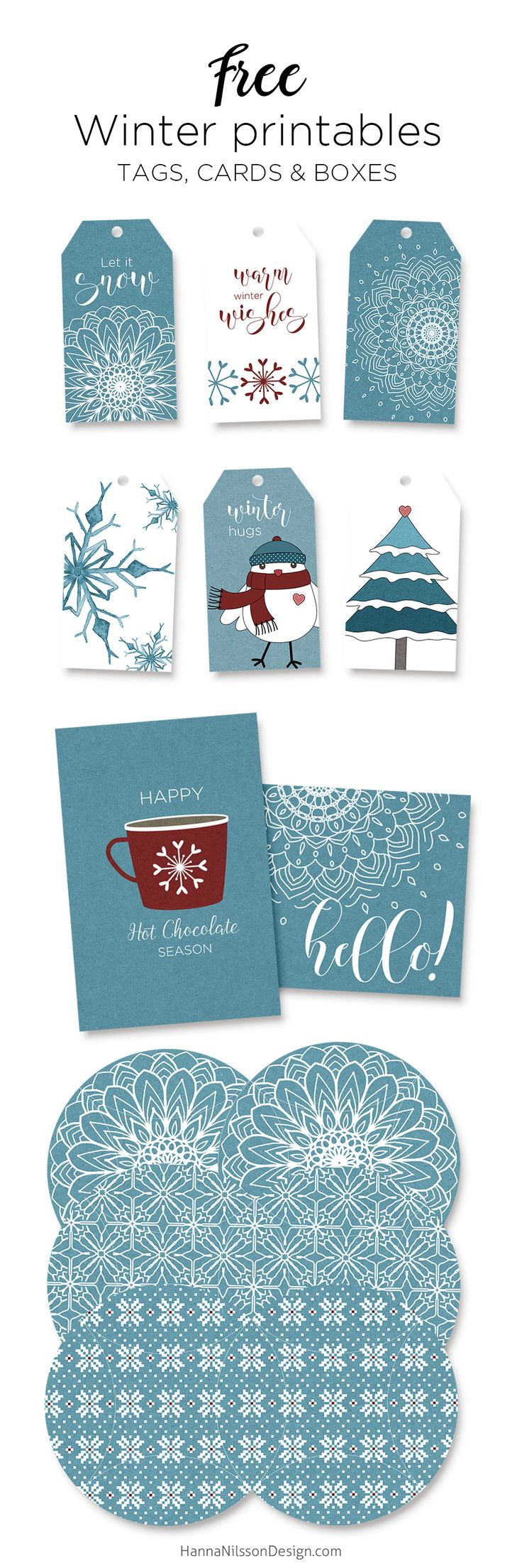 Free winter printables - tags, cards & boxes  --------------------------  paper crafts, handmade gifts. homemade, DIY, paper, sewing, fabric, wood, do it yourself, crafting, kids, teacher gifts, favors. treat boxes, bags, cards, gift card holders, presents, gift wrapping, altered crafts, cardstock, vellum, acetate, greeting card, tags, canvas, winter, Christmas