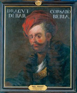 Ritrato di Dragut,pirata turco(1516-1565).Si imbarco in una nave ai 12 anni e si distinse e fu nominato capitano di una nave.Egli si mise sotto le ordini di barbarossa con il quale depredo il mediterraneo.Morì durante l'assedio di malta nel 25 giugno 1565.