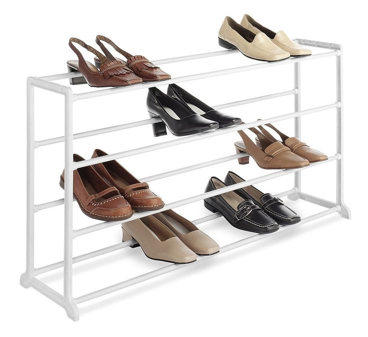 White 20 Pair Shoe Rack Floor Free Standing Space Sacer Storage Organizer  #Whitmor