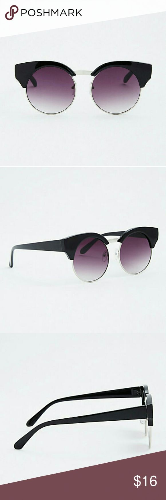 New Round Wayfarer Sunglasses vacation women's No shade! Just sunnies. These wayfarer-inspired frames sport round black lenses with black lacquered tips, both attitude adjustments to the silver tone wire rims.  100% UV Protection Man-made materials Imported torrid Accessories Sunglasses