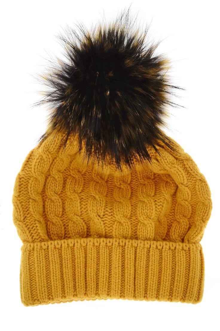 MARINI SILVANO  ESKIMO Yellow Knitted Fur Beanie