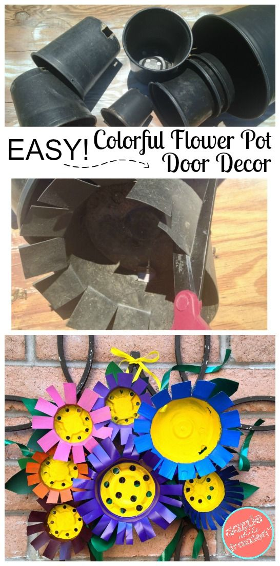 How to use nursery plastic flower pots to create a fun and unique flowery front door decor spring and summer in this DIY flowery craft. via @https://www.pinterest.com/dazzlefrazzled/