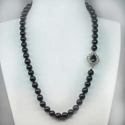 Necklace of jet beads and handmade silver whit silver and jet closing. Artcraft of The Way of Saint James. Tax free $195.00