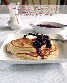 Lemon-Poppy Seed Pan Lemon-Poppy Seed Pancakes with Blueberry Compote | Taking On Magazines | www.takingonmagaz | Light fluffy and laced with hints of lemon the only thing that can make these pancakes better is the deliciously sweet/tart blueberry compote that tops it. Recipe : http://ift.tt/1hGiZgA And @ItsNutella  http://ift.tt/2v8iUYWwww.takingonmagaz | Light fluffy and laced with hints of lemon the only thing that can make these pancakes better is the deliciously sweet/tart blueberry…