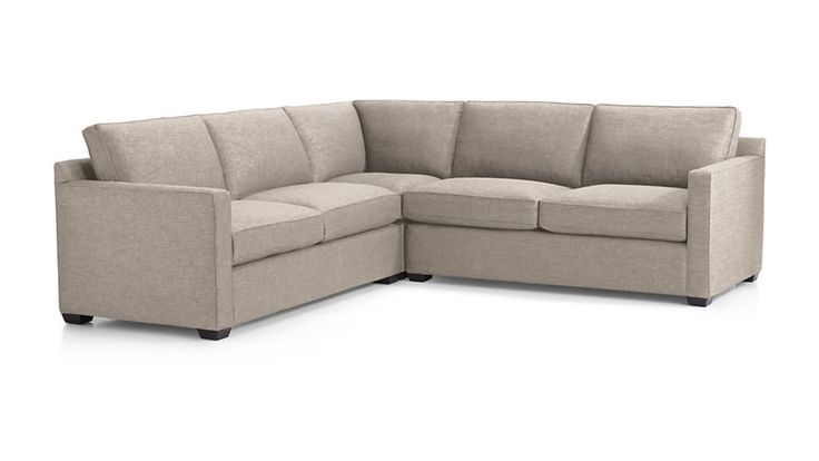 """Davis 3-Piece Sectional Sofa - Crate & Barrel. 103""""W x 103""""L as shown is $3,497 retail with a few fabrics in stock in early July (the rest would be made to order) or 93W x 68L if we made our own configuration using the Left Arm Corner Sofa and the Right Arm Chair which would be $2648 retail (all fabric options would be made to order)."""