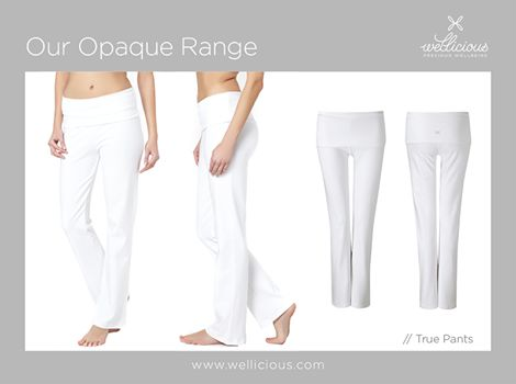 OPAQUE White Pants?  Our True Pants are completely opaque - even though they are white. You will have no problems with trousers being see-through during your downward dog position!    So quickly get yours now before they all sell out - www.wellicious.com/true-pants.html