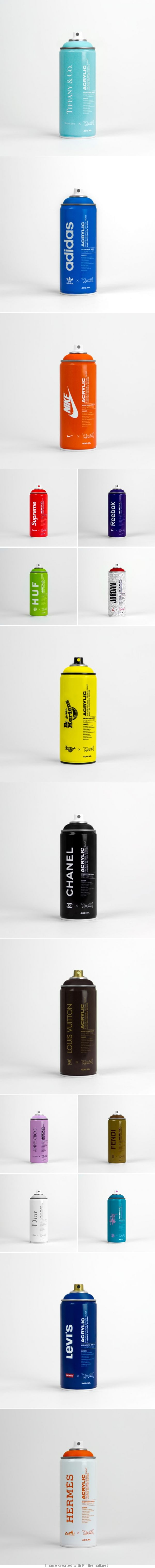 Assorted branded spray paint #packaging PD
