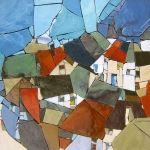 Hommage à Egon Schiele. Pâte de verre Albertini - 340 x 340 mm sur support béton