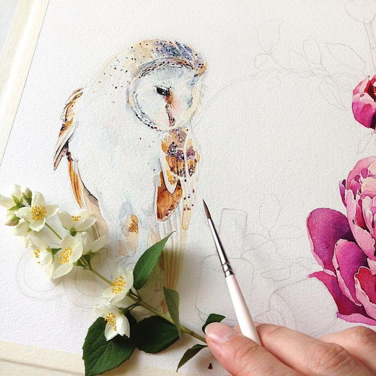 Сипуха♡процесс. Мне так нравятся эти совы и обожаю жасмин!этот запах💫
