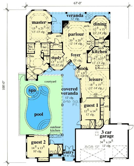 Exciting Courtyard House Plan   33532EB | 1st Floor Master Suite, Butler  Walk In
