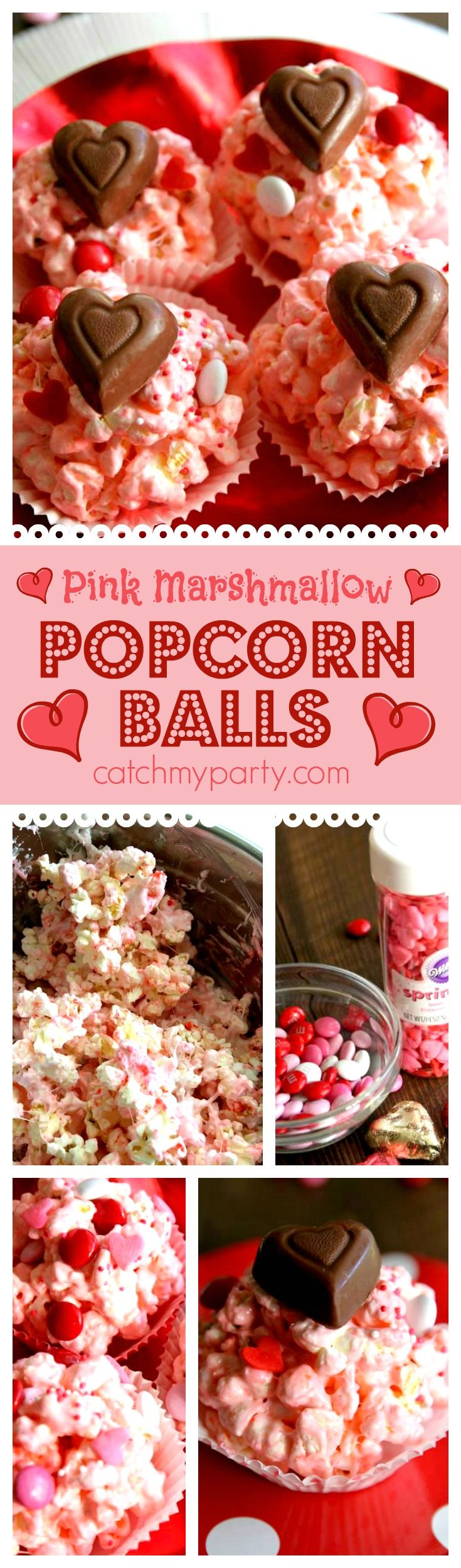 Pink marshmallow popcorn balls perfect treat for Valentine's Day. Make them in 10 minutes in the microwave. Great to serve at a kids Valentine's Day party. See more party ideas at CatchMyParty.com.