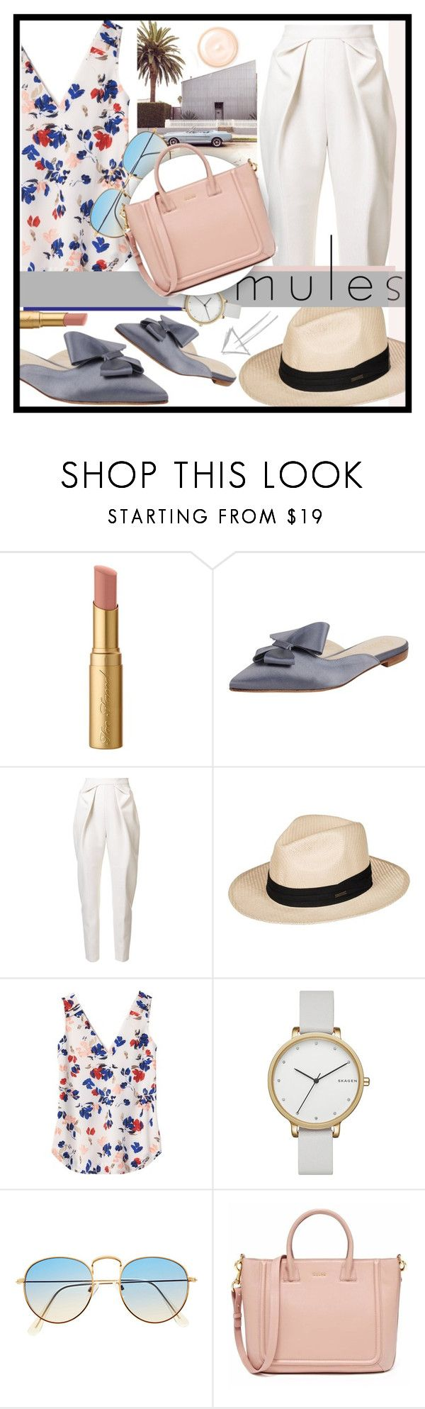 """#142 Mules (Contest Entry)"" by redpepperstyle ❤ liked on Polyvore featuring Too Faced Cosmetics, Butter Shoes, Delpozo, Roxy, Banana Republic, Skagen and Giorgio Armani"