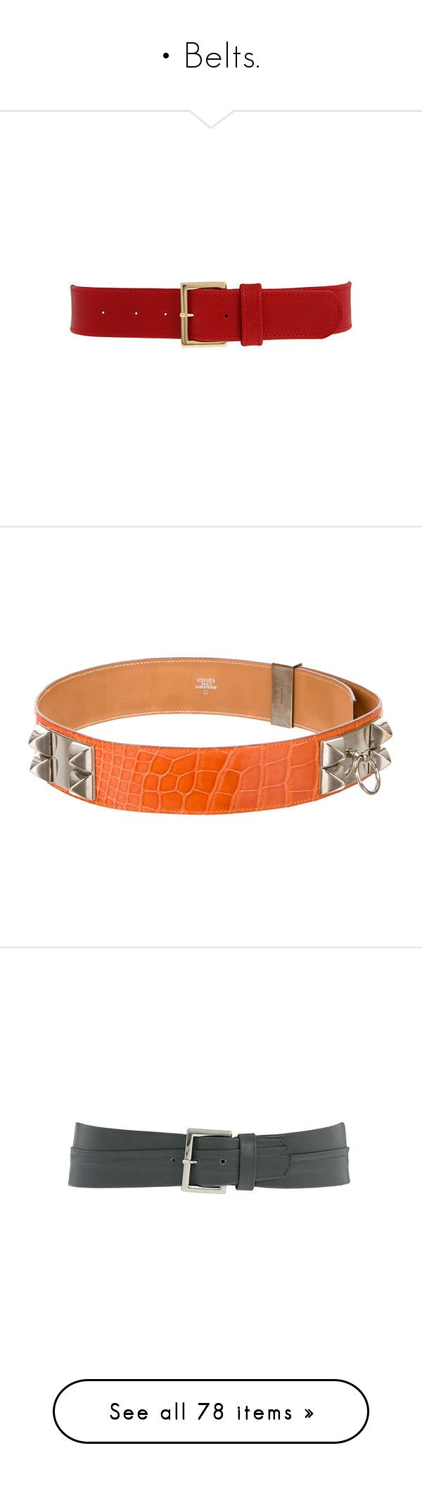 """• Belts."" by krys30rose ❤ liked on Polyvore featuring belts, accessories, cintos, red, cinturones, women's belts, orange, hermès, hermes belt and alligator belt"