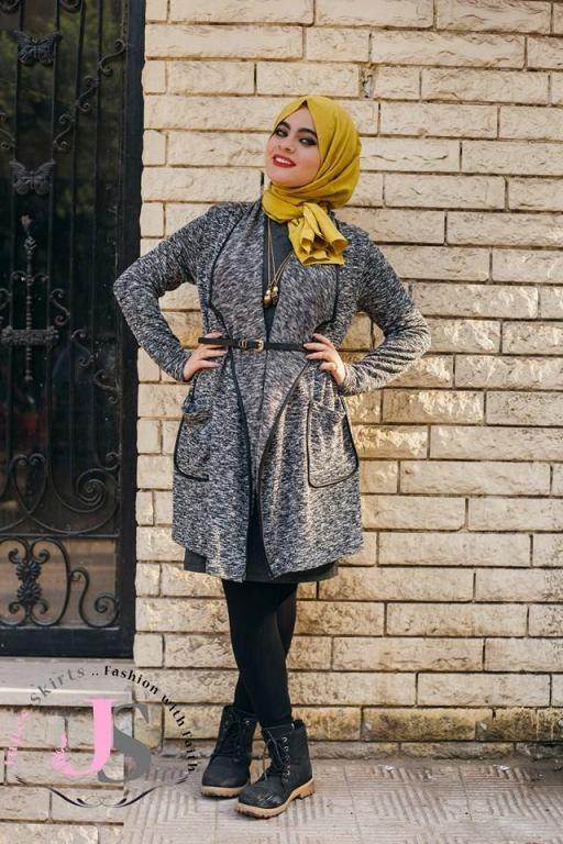 Dark Gray Cardigan Hijab Style Winter Hijab Fashion From Egypt